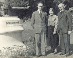 Rees Howells with his wife and son, Samuel, on the grounds of Wales Bible College