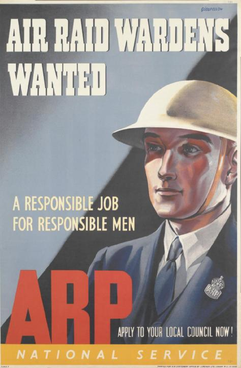 brodie helmet poster air raid wardens wanted