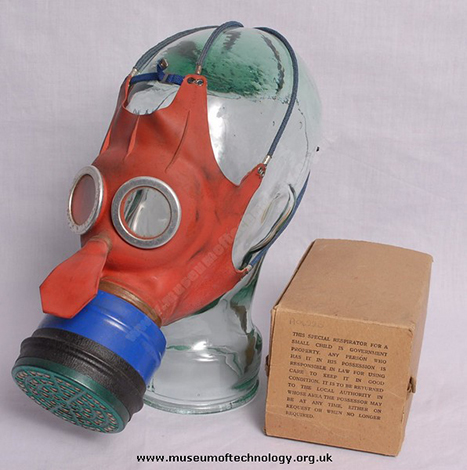gas mask child red blue small