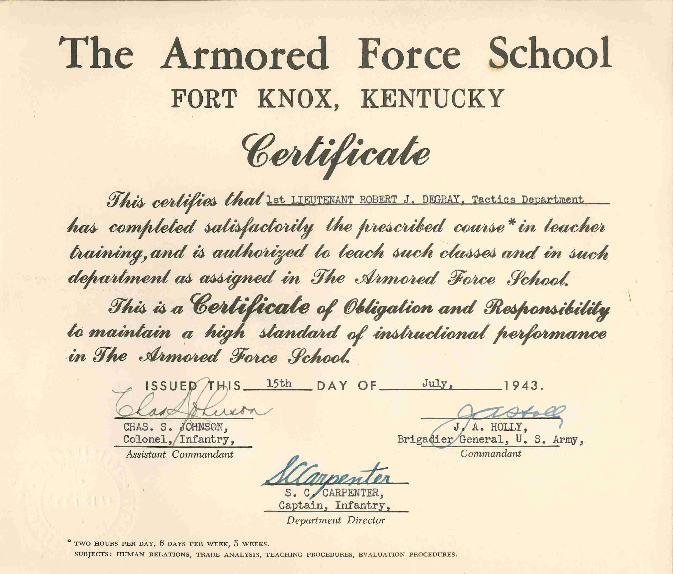 19430815 Instructor Certificate