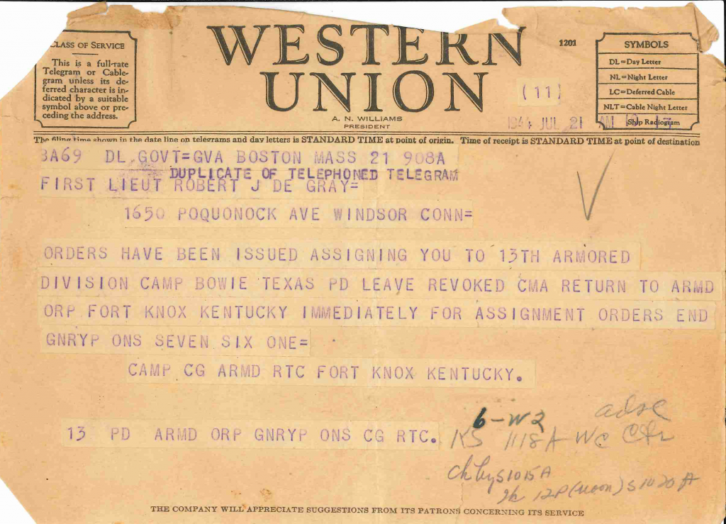19440721 telegram cancellation of leave