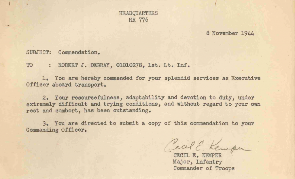 19441108 letter of commendation troop transport detail